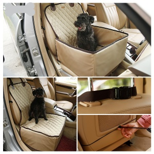 2-In-1 Deluxe Pet Dog Seat Mat Blanket Waterproof Car Front Seat Cover - Champagne