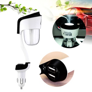 NANUM Car Humidifier II Ultrasonic Aromatherapy Air Humidifier with USB Changer Port - Dual USB / Black