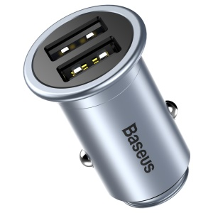 BASEUS Mini T Dual USB Smart Copper Car Charger DC 5V 2.4A for iPhone iPad Samsung - Grey