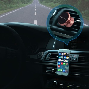 BEAUTY-CAR Universal Magnetic Car Air Vent Mount Phone Holder for iPhone 7 / 7 Plus Etc. - Rose Gold / Black