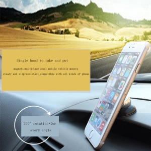 Mini Universal 360-Degree Rotary Magnetic Car Mount Kit for iPhone Samsung Phones - Silver