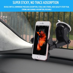 Suction Cup Car Windshield Mount Holder with Telescopic Arm for iPhone 7 Plus, Width: 55-85mm