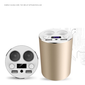 2-Socket Cigarette Lighter 12-24V Dual USB Car Cup Charger with LED Display for iPhone 7 / Samsung S8 - Gold