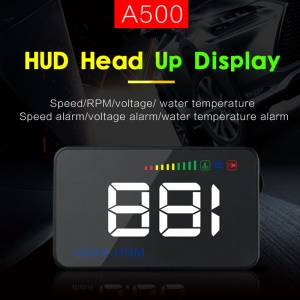 A500 Car Head Up Display HUD Windshield OBD2 GPS Digital Car Speedometer Alarm Car Speed Projector - Black