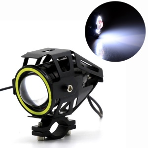 U7 Angel Eyes Light 125W CREE Motorcycle Headlight LED Fog Spotlight + Switch - White