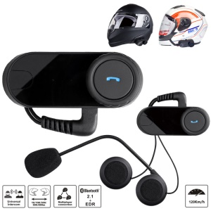 T-COMVB 800m Motorcycle/Ski Helmet Bluetooth Headphone Wireless Earphone Intercom Kit - Black