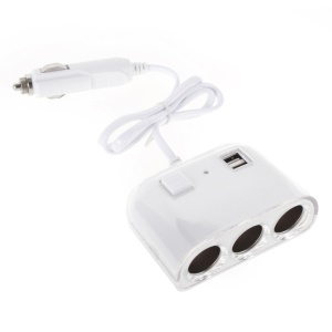 1 to 3 Sockets Car Cigarette Lighter Splitter & Dual USB Car Charger OLESSON No.1505 - White