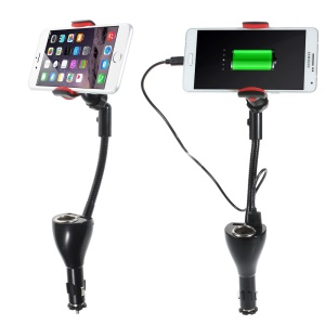 Car Cigarette Lighter Dual USB Charger Mount Holder for Smartphones, Max Clamp Opening: 10cm