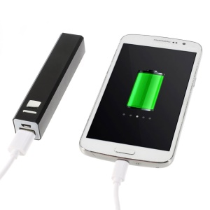 2600mAh Metal Skin Battery Charger Power Bank w/ Flashlight for iPhone iPod Samsung LG Sony - Black