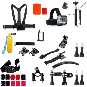 33-in-1 Accessories Kit with Chest Belt, Headstrap, Monopod for GoPro Hero 4/3+/3/2/1 SJ4000/5000/6000/Xiaomi Yi