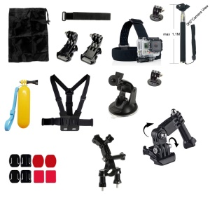 21-in-1 Gopro Outdoor Accessories Kit for GoPro Hero 4/3+/3/2/1 SJ4000/SJ5000/SJ6000 Xiaomi Yi