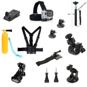 13-in-1 Sports Accessory Kits with Chest Strap, Monopod for GoPro Hero 4/3+/3/2/1 SJ4000/SJ5000/SJ6000 Xiaomi Yi