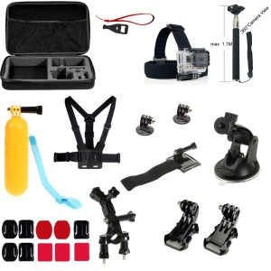 23-in-1 Outdoor Accessories Kit with Chest Belt, Headstrap, Wrist Strap, Monopod for GoPro Hero 4/3+/3/2/1 SJ4000 Xiaomi Yi