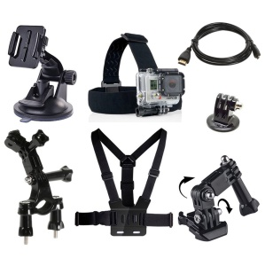 7 in 1 Accessories Kit with Chest Belt, Headstrap for GoPro Hero 4/3+/3/2/1 SJ4000/5000/6000/Xiaomi Yi