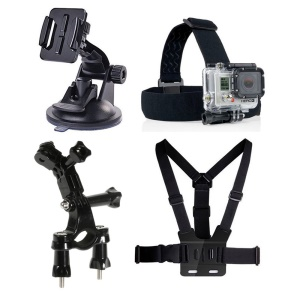 4 in 1 GoPro Accessories Kit with Chest Belt, Bicycle Handle Bar Seatpost Mount etc for GoPro Hero 4/3+/3/2/1 SJ4000/5000/6000/Xiaomi Yi