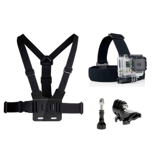 4 in 1 Accessories Kit with Chest Belt, Headstrap for GoPro Hero 4/3+/3/2/1 SJ4000/5000/6000/Xiaomi Yi