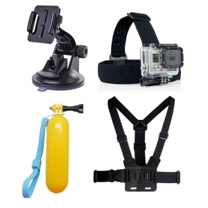 4 in 1 GoPro Accessories Kit Chest Belt + Headstrap + Floating Bobber + Windshield Suction Cup Mount for GoPro Hero 4/3+/3/2/1 SJ4000 Xiaomi Yi