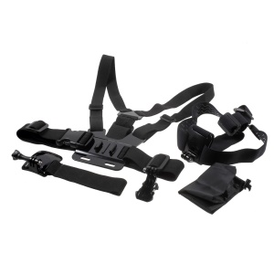 5 in 1 GoPro Accessories Kit with Chest Belt Headstrap Wristband Mount for GoPro Hero 4/3+/3/2/1 SJ4000 Xiaomi Yi