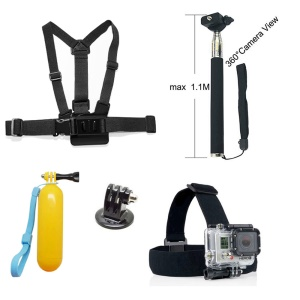 5 in 1 Accessories Kit with Chest Belt, Headstrap, Floating Bobber Handy Grip for GoPro Hero 4/3+/3/2/1 SJ4000/5000/6000/Xiaomi Yi