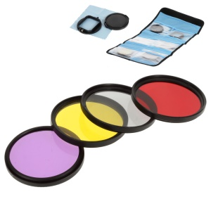 52mm Filter Lens Kit with 4Pcs Filters + Adapter Ring for GoPro Hero 3+ Waterproof Housing