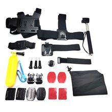 20 in 1 Outdoor Accessories Kit with Headstrap, Chest Strap, Helmet Mount, Monopod for GoPro Hero 4/3+/3 SJ6000 Xiaomi Yi