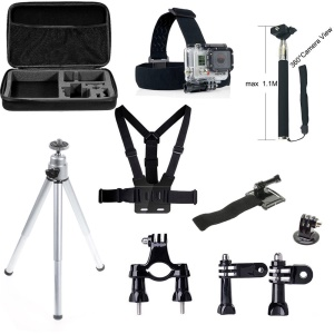10 in 1 Gopro Accessories Set with Chest Belt, Headstrap and Tripod for GoPro Hero 4/3+/3/2/1 SJ4000/SJ5000/SJ6000 Xiaomi Yi