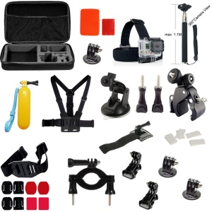 39 in 1 Gopro Accessories Kit with Chest Belt, Headstrap and Monopod for GoPro Hero 4/3+/3/2/1 SJCAM SJ5000+/5000WIFI/5000/4000+/4000WIFI/4000/3000/2000/1000 Xiaomi Yi