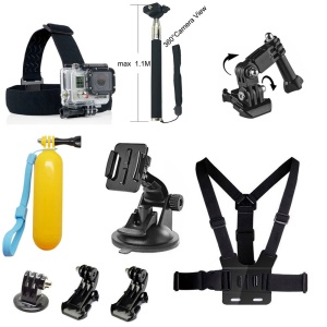 9 in 1 Outdoor Gopro Accessories Kit with Chest Belt, Headstrap for GoPro Hero 4/3+/3/2/1 /Session SJCAM SJ5000+ 5000WIFI/5000/4000+/4000WIFI/4000/3000/2000/1000 Xiaomi Yi