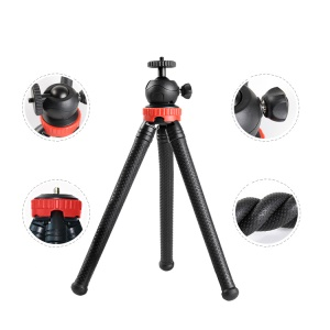 Flexible Octopus Style Tripod 360 Degree Adjustable Shooting Stand Holder Mount with Ball Gimbal - Red
