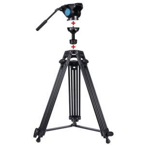 PULUZ PU3004 Aluminum Alloy Camera Tripod for Sony, Nikon, Canon DSLR Cameras - Black