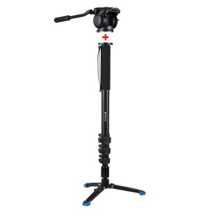 PULUZ PU3016 Telescopic 360° Rotatable Camera Monopod with Pan Tilt Fluid Head for DSLR Video Cameras Camcorders