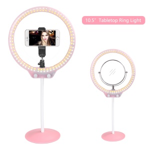 ZOMEI 10-inch Dimmable Ring Light SmartPhone Holder LED Tabletop Lamp with Makeup Mirror for Video Shooting and Makeup etc. - Pink