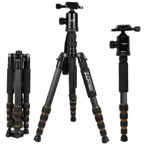 ZOMEI Z699C Carbon Fiber Tripod Stand with 360-Degree Ball Head for DSLRs (Max Height 1.51m)