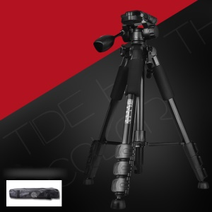 Q-111 Professional Aluminium Alloy Camera Tripod Camcorder Stand with Pan Head Plate for SLR Camera - Black