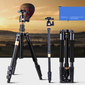 QINGZHUANGSHIDAI Q555 Portable Aluminium Alloy Tripod Monopod with Ball Head for DSLR Camera