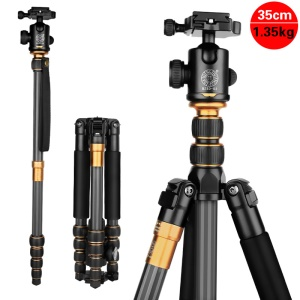 QZSD Q666C 5-Section Foldable Carbon Fiber Digital Camera Tripod Monopod with Ball Head 158cm Max Height