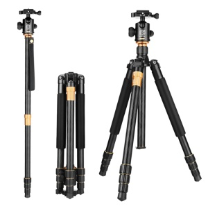 QZSD Q999 Foldable Aluminum-magnesium Alloy Camera Tripod Monopod with Rotary Head for Digital Camera and Camcorder