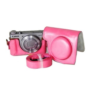 PU Leather Camera Protective Cover + Strap for Canon PowerShot G9 X / S110 / S120 Digital Cameras - Rose