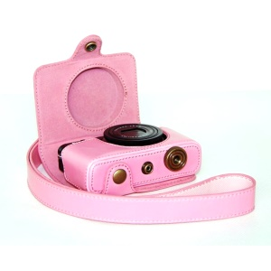 Protective Leather Camera Case with Shoulder Strap for Fujifilm XQ1/XQ2 - Pink