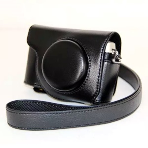Protective Leather Camera Case with Shoulder Strap for Olympus SH-2/SH-1 - Black
