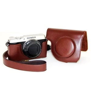 Protective Leather Camera Cover Case with Shoulder Strap for Olympus SH-2/SH-1 - Coffee