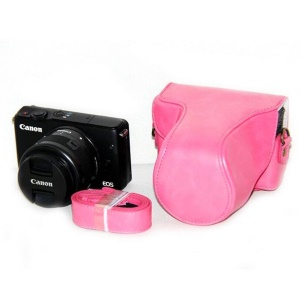 PU Leather Camera Case + Strap for Canon EOSM/EOSM2/EOSM 10 with 15-45mm Lens - Pink