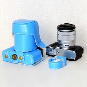 Protective Leather Camera Case with Shoulder Strap for Fujifilm XM1/XA2/XA1 - Blue