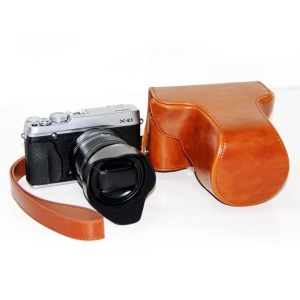 PU Leather Camera Protective Pouch with Shoulder Strap for Fujifilm X-E1/X-E2 - Brown