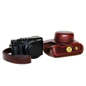 PU Leather Camera Bag Protective Shell with Strap for Panasonic LX100 - Coffee