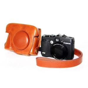 PU Leather Camera Protective Bag + Strap for Canon PowerShot G15/G16 - Brown