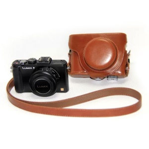 Protective Leather Camera Shell with Shoulder Strap for Panasonic LX7 / LX5 / LX3 - Brown
