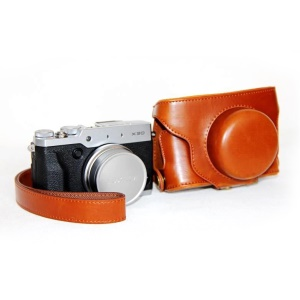 For Fujifilm X30 Protective PU Leather Camera Bag Cover with Shoulder Strap - Brown