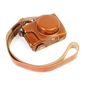PU Leather Camera Protective Shell + Strap for Olympus EM10/EM10II Digital Camera - Brown