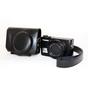 Protective Leather Camera Case with Shoulder Strap for Canon G7X - Black